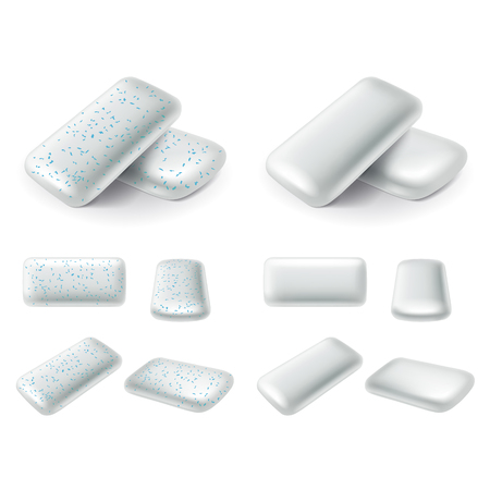 Chewing gum pads 3d photo realistic vector set