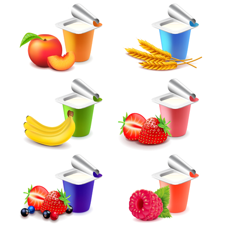 Colorful yogurt cups with fruits 3d photo realistic vector set