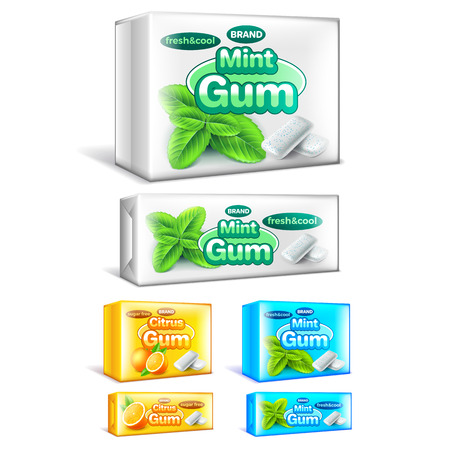Chewing gum packaging mint and citrus 3d realistic vector set Vectores