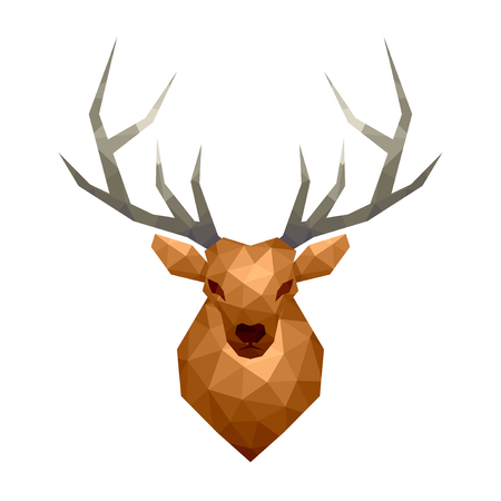 Low poly deer isolated on white vector illustration