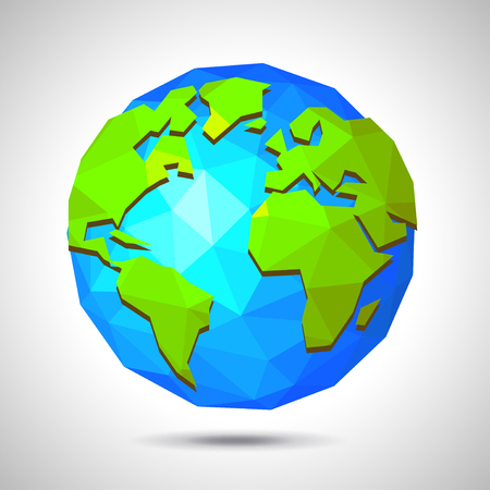 Low poly earth isolated on white vector illustration