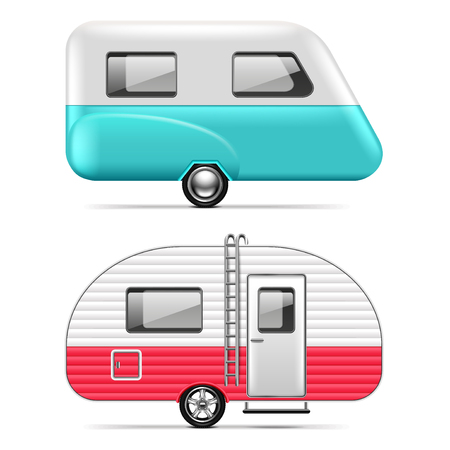 Travel trailer isolated on white photo-realistic vector illustration
