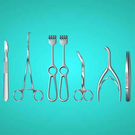 Surgeon instruments on blue background photo-realistic vector illustration