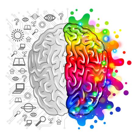 La lógica del concepto del cerebro humano y la ilustración fotorrealista creativa del vector
