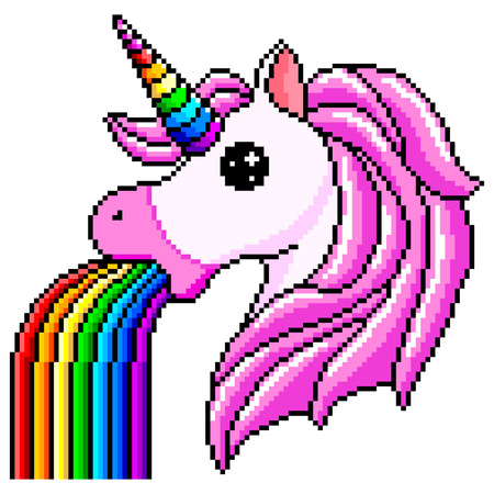 Pixel unicorn pukes rainbow detailed isolated on a white background. Vector illustration.