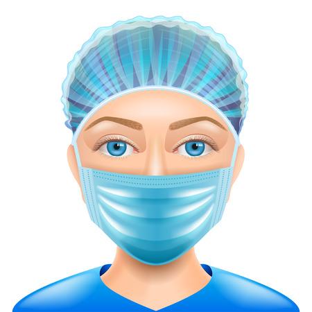 Femme médecin visage masque isolé illustration photo-réaliste vectorielle