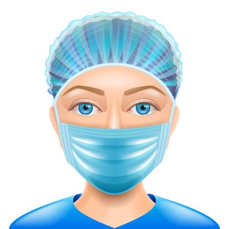 Woman doctor face mask isolated vector photo-realistic illustration