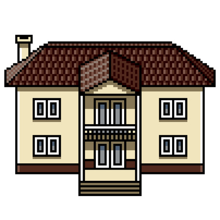 Pixel art white modern house detailed isolated vector