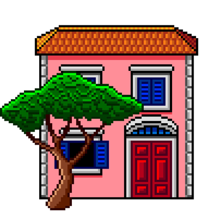 Pixel art pink italian house with stone-pine detailed isolated vector