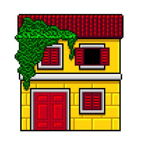 Pixel art yellow italian house detailed isolated vector Ilustracja
