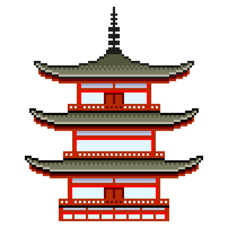 Pixel art japanese temple detailed isolated vector