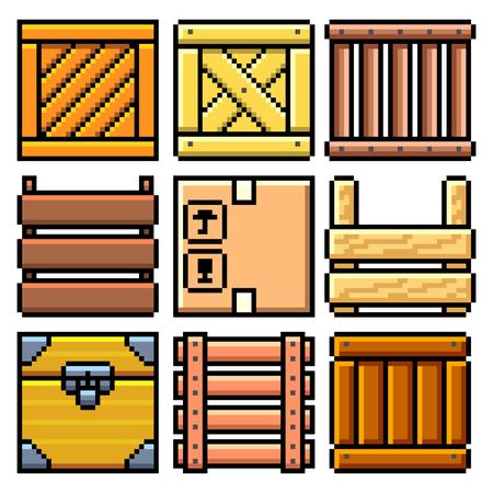 Pixel art different crates set detailed illustration isolated vector Ilustração