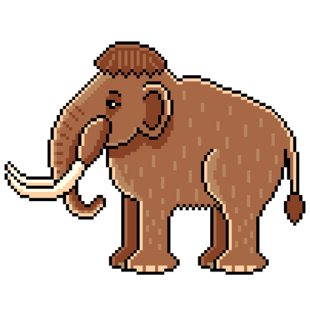 Pixel art cute mammoth detailed illustration isolated vector