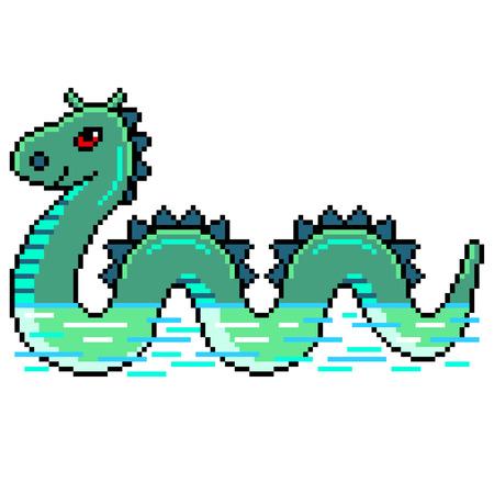 Pixel art nessie loch ness monster detailed illustration isolated vector