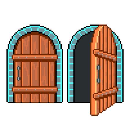 Pixel art open closed door detailed illustration isolated vector