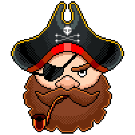 Pixel art pirate portrait detailed illustration isolated vector Ilustração