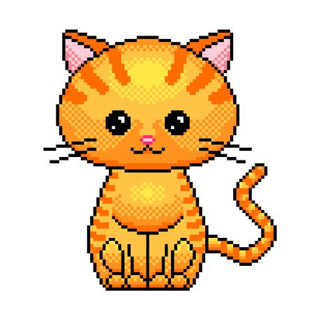 Pixel art cute cat detailed illustration isolated vector Ilustração