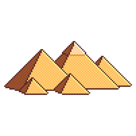 Pixel art Egyptian pyramids wonders of the world detailed illustration isolated vector