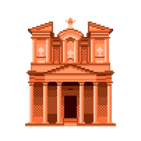 Pixel art Jordan Petra temple wonders of the world detailed illustration isolated vector