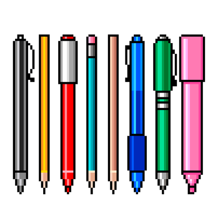 Pixel art pencils and pens detailed illustration isolated vector