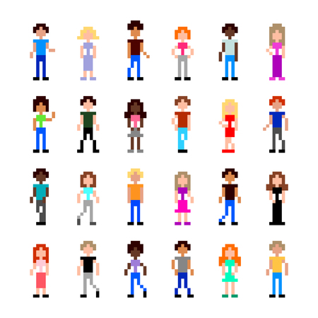 Pixel art people for game set detailed illustration isolated vector