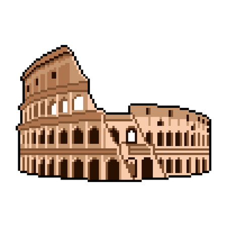 Pixel art Roman Coliseum wonders of the world detailed illustration isolated vector