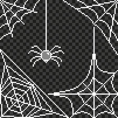 Pixel art spider web frame detailed illustration isolated vector