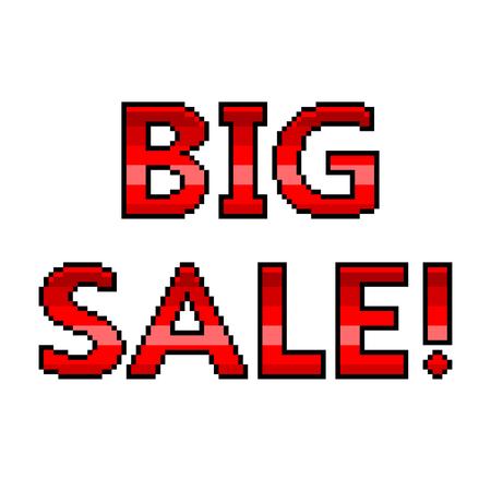 Pixel art big sale text detailed illustration isolated vector Ilustração