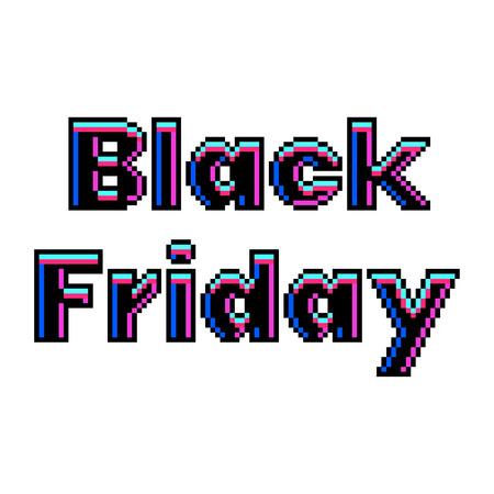 Pixel art black friday text detailed illustration isolated vector Ilustração