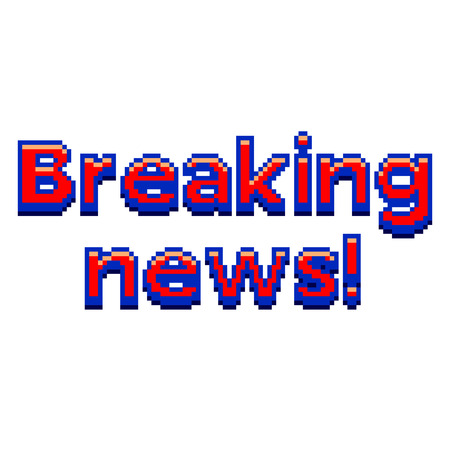 Pixel art breaking news text detailed illustration isolated vector