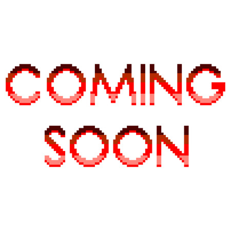 Pixel art coming soon text detailed illustration isolated vector