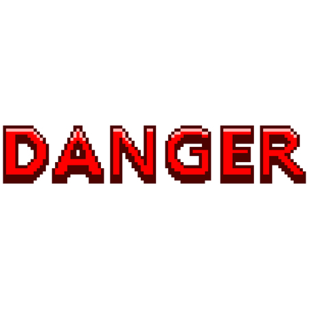 Pixel art danger text detailed illustration isolated vector Ilustração