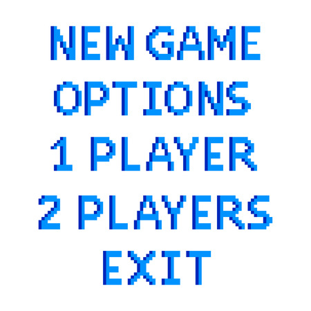 Pixel art game menu options text detailed illustration isolated vector