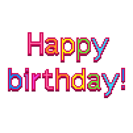 Pixel art happy birthday text detailed illustration isolated vector