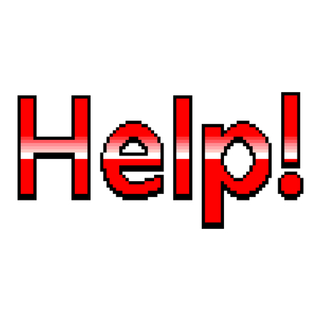 Pixel art help text detailed illustration isolated vector Ilustração