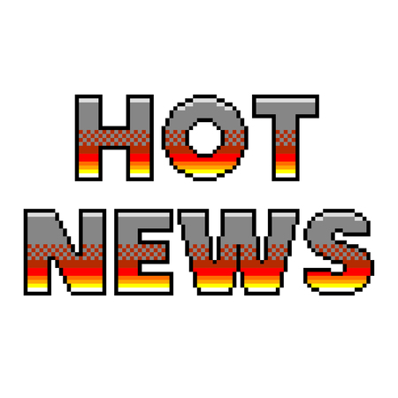 Pixel art hot news text detailed illustration isolated vector