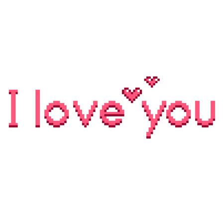 Pixel art I love you text detailed illustration isolated vector