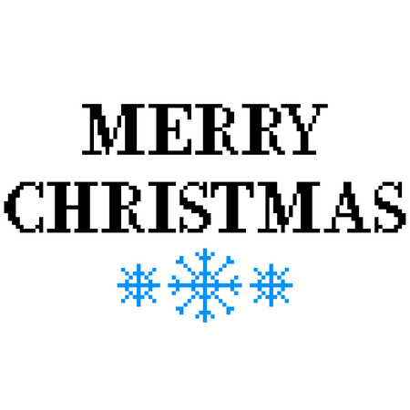 Pixel art Merry Christmas text detailed illustration isolated vector