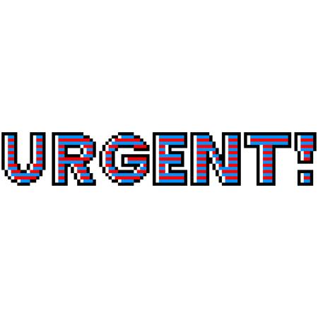 Pixel art urgent text detailed illustration isolated vector Ilustração