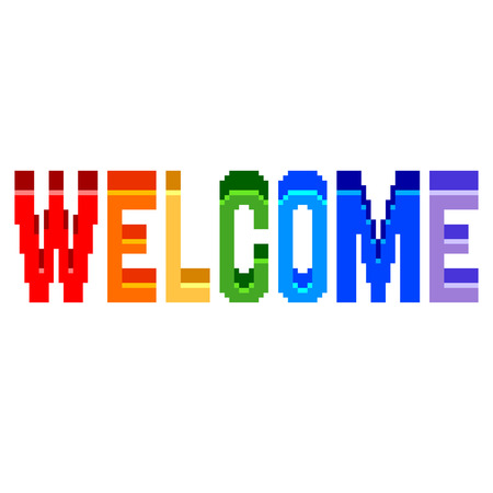 Pixel art welcome text detailed illustration isolated vector