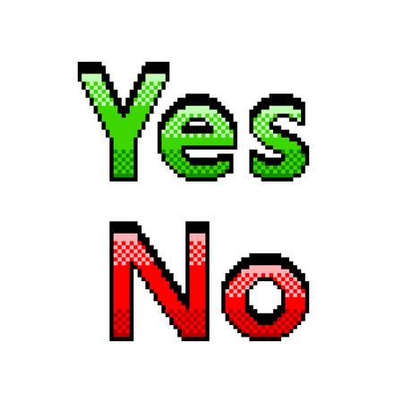 Pixel art yes no text detailed illustration isolated vector Ilustração