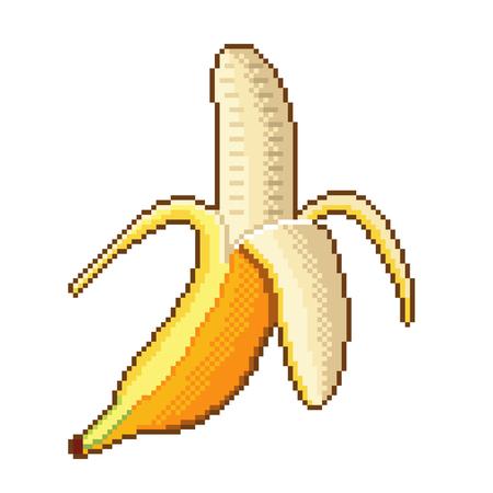 Pixel art banana fruit detailed illustration isolated vector