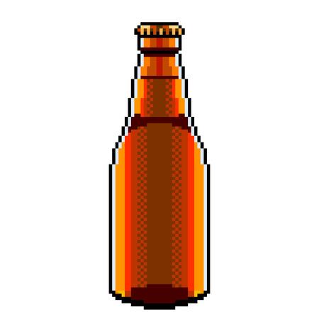 Pixel art beer bottle detailed illustration isolated vector Ilustração