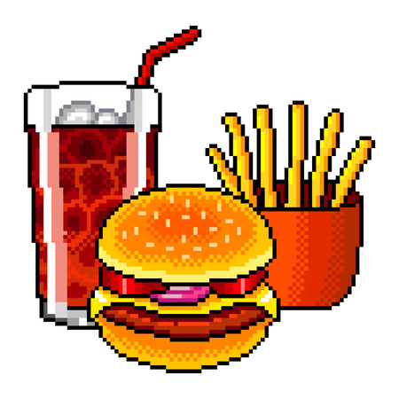 Pixel art fast food cola burger french fries detailed illustration isolated vector