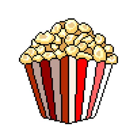 Pixel art popcorn detailed illustration isolated vector Ilustração