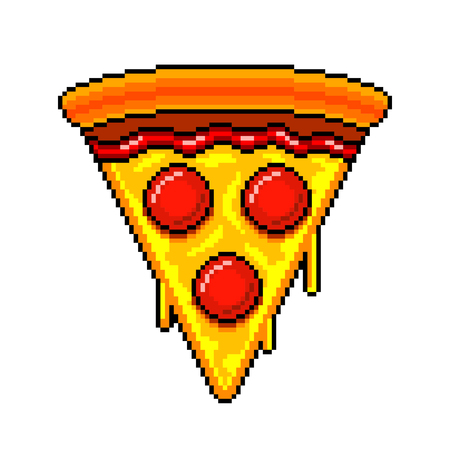 Pixel art slice of pizza detailed illustration isolated vector