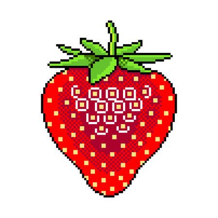 Pixel art strawberry fruit detailed illustration isolated vector Ilustração
