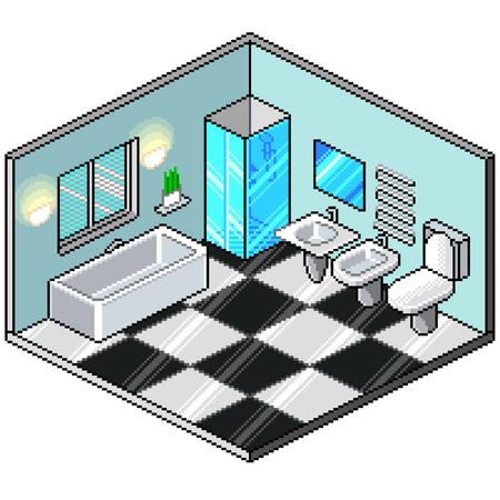 Pixel art isometric bathroom detailed colorful vector illustration
