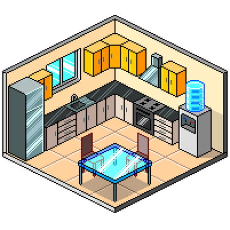 Pixel art isometric kitchen detailed colorful vector illustration