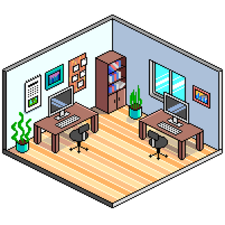 Pixel art isometric office detailed colorful vector illustration